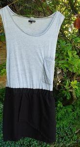 Sleeveless drop-waist black & gray dress